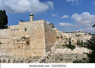 Scenic view of beautiful Jerusalem old town and the Temple Mount, near Western Wall, Israel.