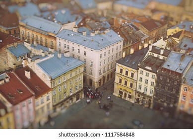 Scenic view of beautiful Lviv (Lvov) from top of tower