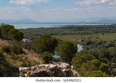 Scenic view of beautiful nature landscape with misty mountains and sea on background, from the Rozafa Castle. Shkoder. Albania
