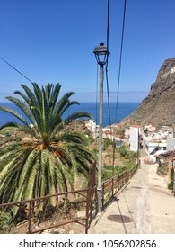Scenic view of beautiful small village Taganana, one of Tenerife's oldest villages. Whitewashed houses and beautiful mountain landscape. (Macizo de Anaga, North of Tenerife, Canary Islands, Spain)