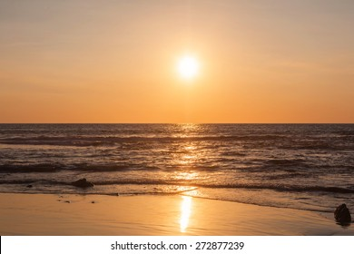 Scenic View Of Beautiful Sunset Above The Pacific Ocean