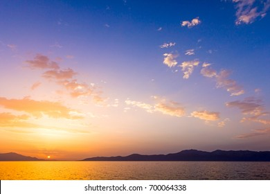 Scenic view of beautiful sunset in the evening time over the sea, water