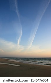 Scenic view of a beautiful sunset at Westerland beach on the island of Sylt, Germany