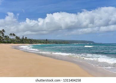 Scenic View of a Beautiful Tropical Sandy Beach with Gentle Ocean Waves on the Pacific Island of Hawaii