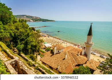 Scenic view of Black Sea coast in Balchik, Bulgaria with Balchik Palace in the foreground
