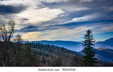 A scenic view of the Blue Ridge Mountains, from The Blue Ridge Parkway, near Asheville, NC.