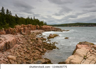 Scenic view of Boulder Beach, Acadia National Park in Maine