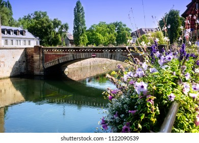 Scenic view of a bridge and water canal in Strasbourg, France
