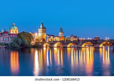 Scenic view of bridges on the Vltava river and historical center of Prague,buildings and landmarks of old town,Prague,Czech Rapublic