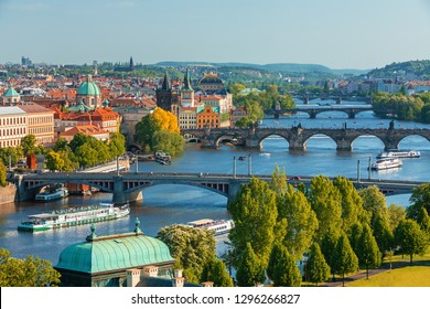 Scenic view of bridges on the Vltava river and historical center of Prague, old town buildings and landmark , Prague, Czech Republic
