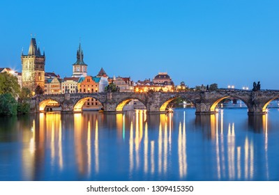 Scenic view of bridges on the Vltava river and historical center of Prague,buildings and landmarks of old town, Prague, Czech Republic