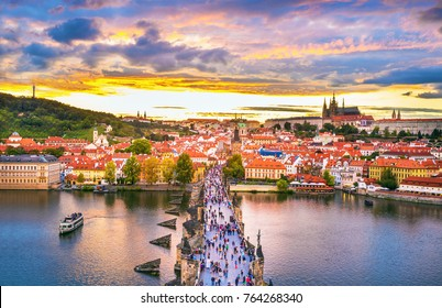 Scenic view of bridges on the Vltava river and historical center of Prague, buildings and landmarks of old town, Prague, Czech Republic