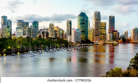 Scenic view of Brisbane River and Cityscape from Kangaroo Point Cliffs late afternoon. HDR image.