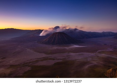 Scenic view of the Bromo volcano and the Tengger Caldera at sunrise, East Java, Indonesia