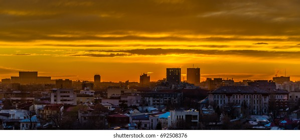 Scenic view of Bucharest during sunset