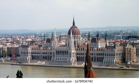 Scenic view from Budapest Castle on the Danube river and Parliament