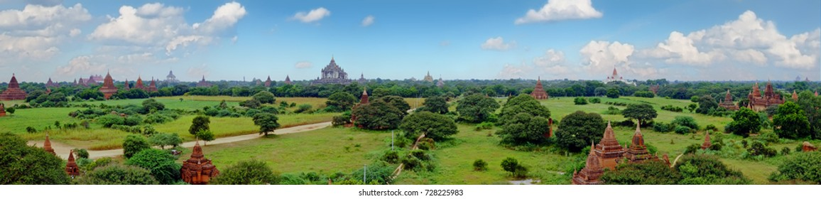 Scenic view of buddhist temples in Bagan , Myanmar
