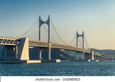 Scenic view of Busan Gwangandaegyo Bridge (Diamond Bridge), a suspension bridge connecting Haeundae-gu to Suyeong-gu in Busan, South Korea