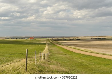scenic view of Canadian Prairies and small village of Mankota  in background  Saskatchewan