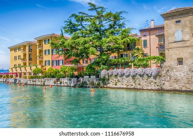 Scenic view of a canal in the city centre of Sirmione, Lake Garda, Italy