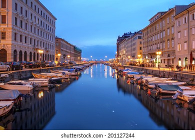 Scenic view of the Canal Grande in Trieste, Italy at night.