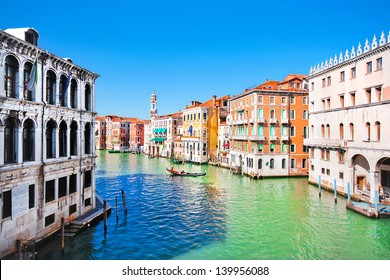Scenic view of Canal Grande in Venice, Italy as seen from Rialto bridge
