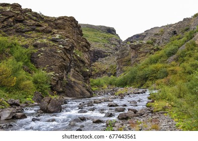 Scenic view to canyon of Glymur waterfall - highest waterfall of Iceland.