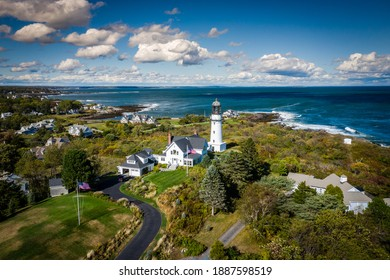 Scenic view of the Cape Elizabeth Light - a lighthouse at the entrance to Casco Bay in Maine.