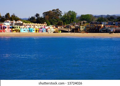 Scenic view of Capitola Village, California, as seen from the Capitola Wharf