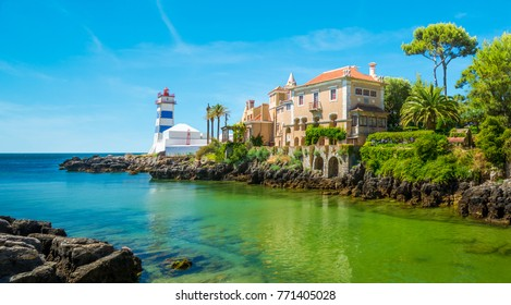 Scenic view in Cascais, Santa Marta Lighthouse and Museum, Lisbon district, Portugal.