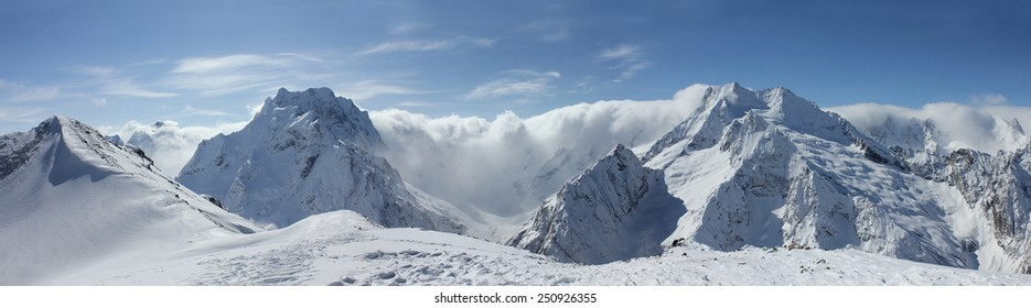 Scenic view of the Caucasus Mountains