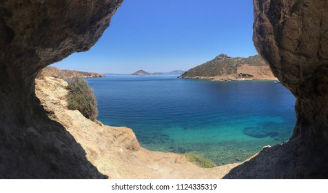 Scenic view from a cave in the Rock of Kallikatsou, on the Greek island of Patmos