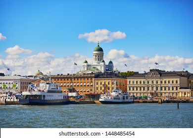 Scenic view to the center of Helsinki, Finland with its harbour and the main Helsinki cathedral