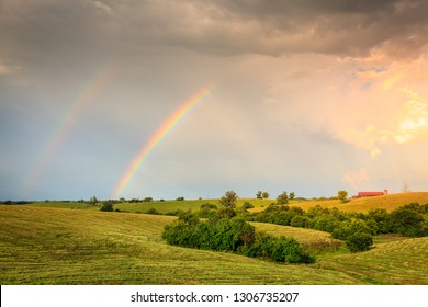 Scenic view of Central Kentucky countryside with double rainbow after storm