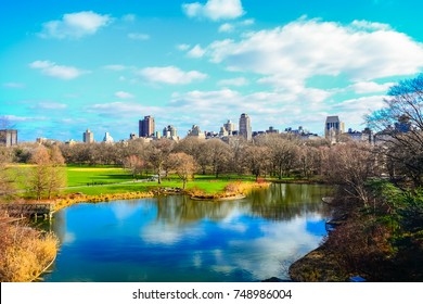 Scenic view of Central Park in New York City in winter season.