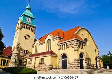 Scenic view of  Christian Church (Lutheran Church) of Qingdao in old town Shandong china