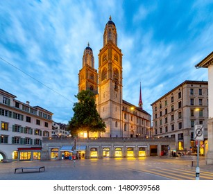 Scenic view of the church Grossmunsterr and the city embankment in night-time lighting. Zurich. Switzerland.