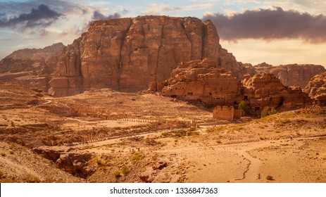 Scenic view of the city center of Petra with the Colonnaded Street, the Great Temple and Qasar-al-bint under Jebal Habis and Umm al-Biyara mountains, Petra, Jordan