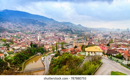 Scenic view of the city of Sarajevo, Bosnia