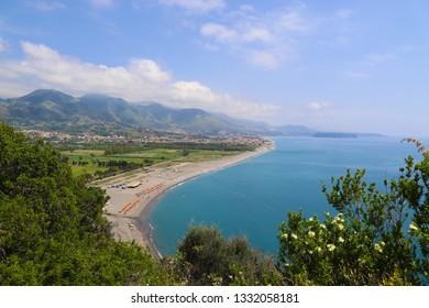 Scenic view of the coast and beaches of the Tyrrhenian Sea near Maratea on a sunny summer day