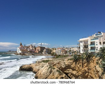 Scenic view of the coast line of Sitges, Spain