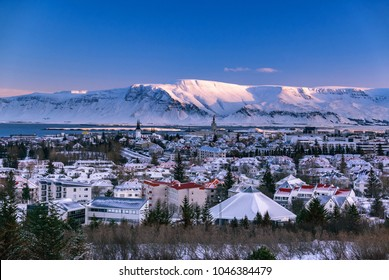 Scenic view of cold winter morning in capital city Reykjavik, Iceland.