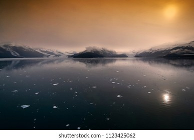 Scenic view of College Fjord in Alaska