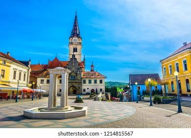 Scenic view at colorful famous square in center of Marija Bistrica shrine, Croatia Zagorje region. / Selective focus.