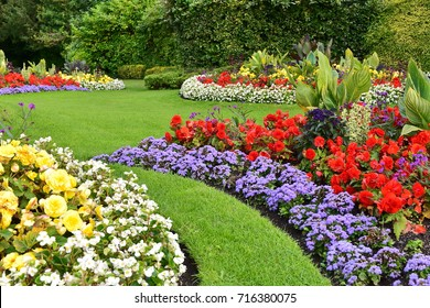 Scenic View of Colorful Flowerbeds with a Winding Grass Lawn Pathway through an Attractive Landscape Garden