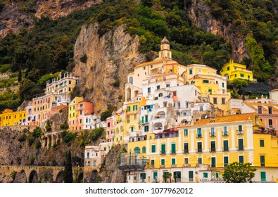 Scenic view of colorful houses in Amalfi town, Italy, Europe