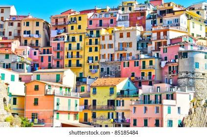 Scenic view of colorful houses in Cinque terre village Riomaggiore/Manarola
