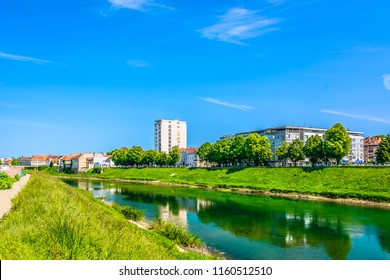 Scenic view at colorful landscape in Karlovac town, Korana river view in Croatia, Europe. / Selective focus.