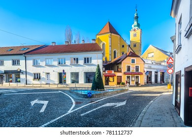 Scenic view at colorful medieval architecture in baroque town samobor, Northern Croatia. / Selective focus.