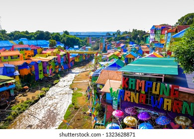 Scenic View of Colorful Rainbow Village (Kampung Warna) Jodipan Malang, East Java, Indonesia, Asia